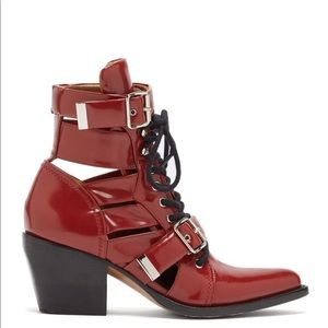 Chloé Women's Red Rylee Leather Ankle Boots